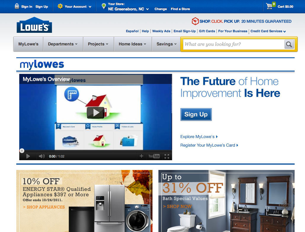 MyLowes Landing Page